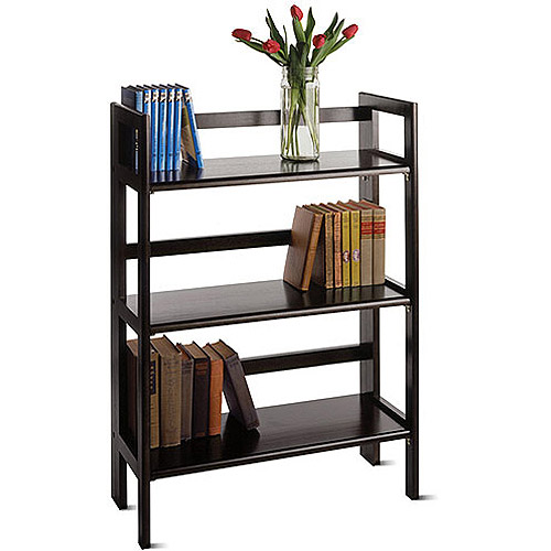 Wood Folding 3-Shelf Bookcase, Multiple Finishes