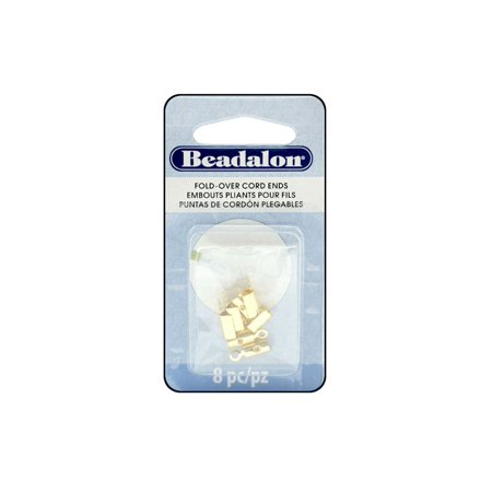 Beadalon Cord Ends Fold Over 4.6mm Gold 8pc