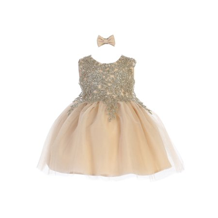 Tip Top Kids Baby Girls Champagne Lace Applique Tulle Pageant