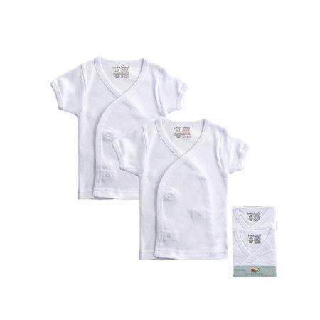Luvable Friends Baby Boy or Girl Gender Neutral Short Sleeve Side Snap Shirts, 2-Pack Infant Side Snap Shirts