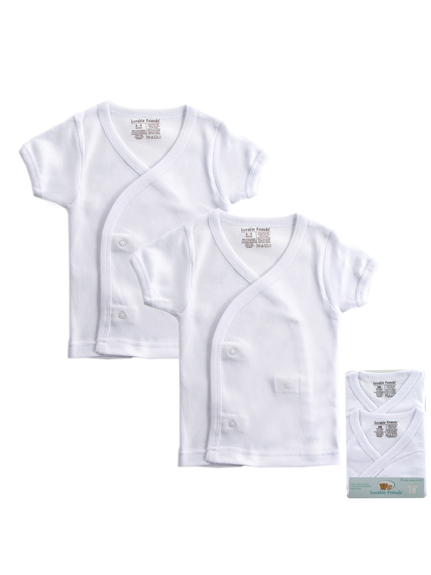 Unisex White Side Snap Shirts, 2-Pack