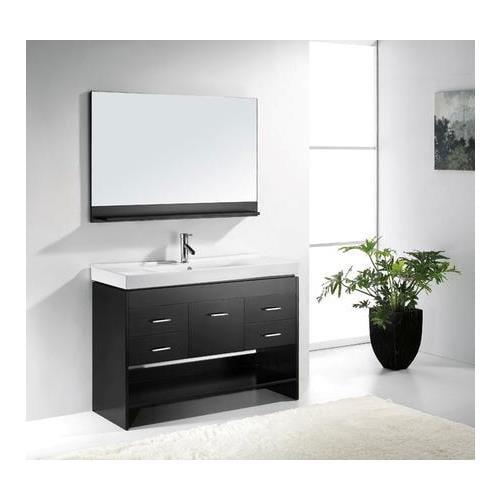"Virtu USA Gloria 48"" Ceramic Single Bathroom Vanity Cabinet Set in Espresso"