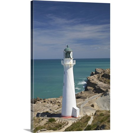 Great BIG Canvas | David Wall Premium Thick-Wrap Canvas entitled Castle Point Lighthouse, Castlepoint, Wairarapa, North Island, New