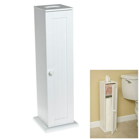 Toilet Paper Tower - Country Cottage White Toilet Paper Cabinet Storage Tower Free Standing