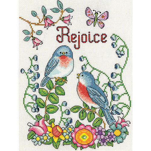 "Rejoice (Birds) Counted Cross Stitch Kit, 8"" x 10"", 14-Count"