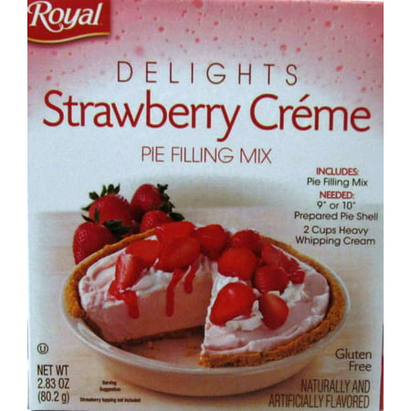 (4 Pack) ROYAL DELIGHTS STRAWBERRY CREME PIE FILLING MIX, 2.83 oz