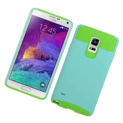 Insten Hard Dual Layer Silicone Case For Samsung Galaxy Note 4 - Light Blue/Green