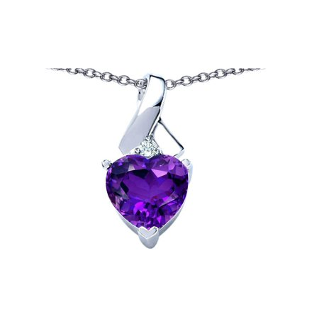Star K 8mm Heart Shape Simulated Amethyst Ribbon Pendant Necklace in Sterling (Sterling Silver Star Shape)