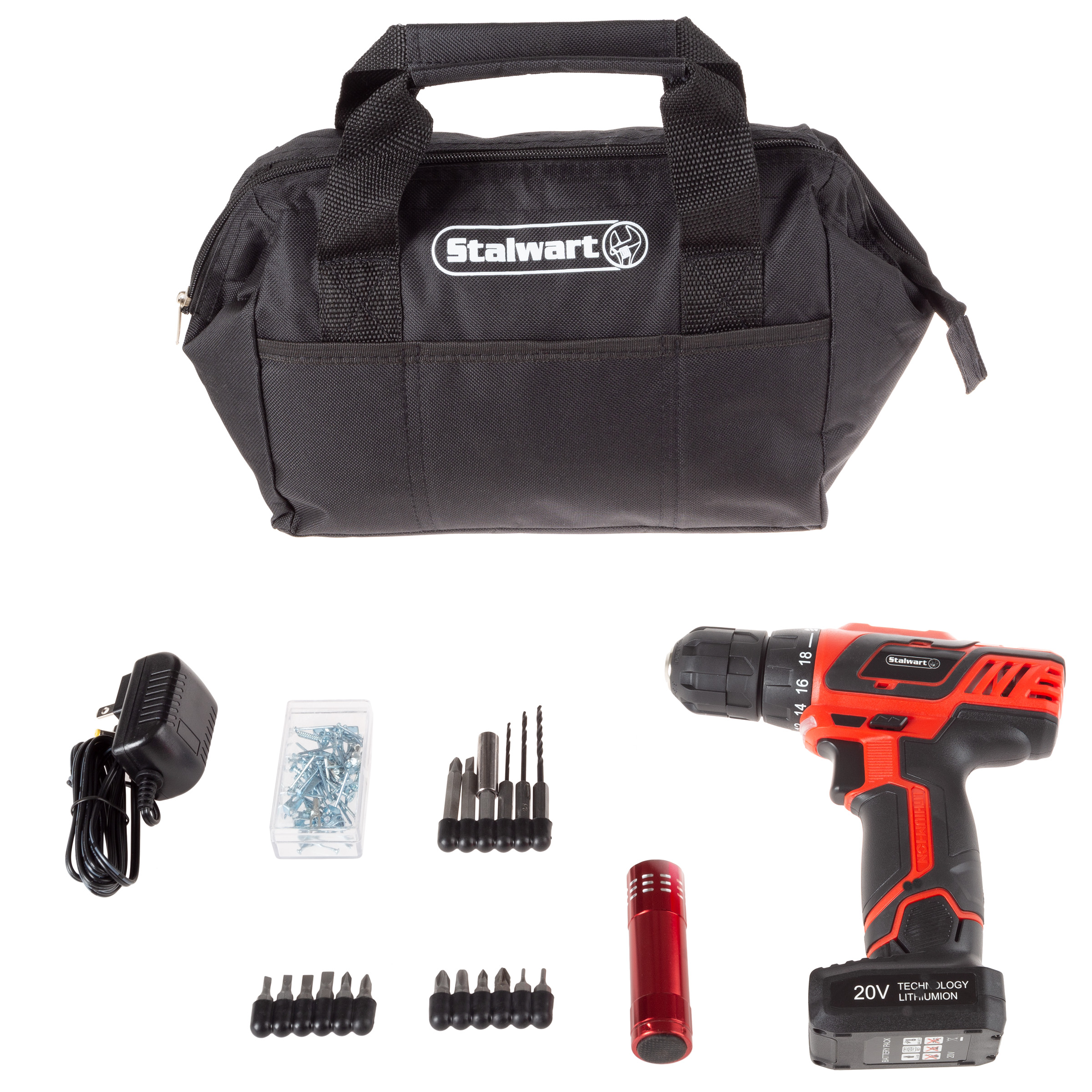 20v Cordless Drill With Rechargeable Battery And 101 Piece Accessory Set By Stalwart Walmart Com Walmart Com