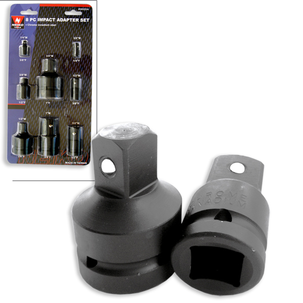 "8 Piece Air Impact Socket Adapter & Reducer Set 1"" 3/4"" 1/2"" 3/8"" 1/4"""