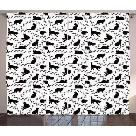 cat curtains 2 panels set cat silhouette and animal tracks pattern paws footprints kitties different - Cat Curtains