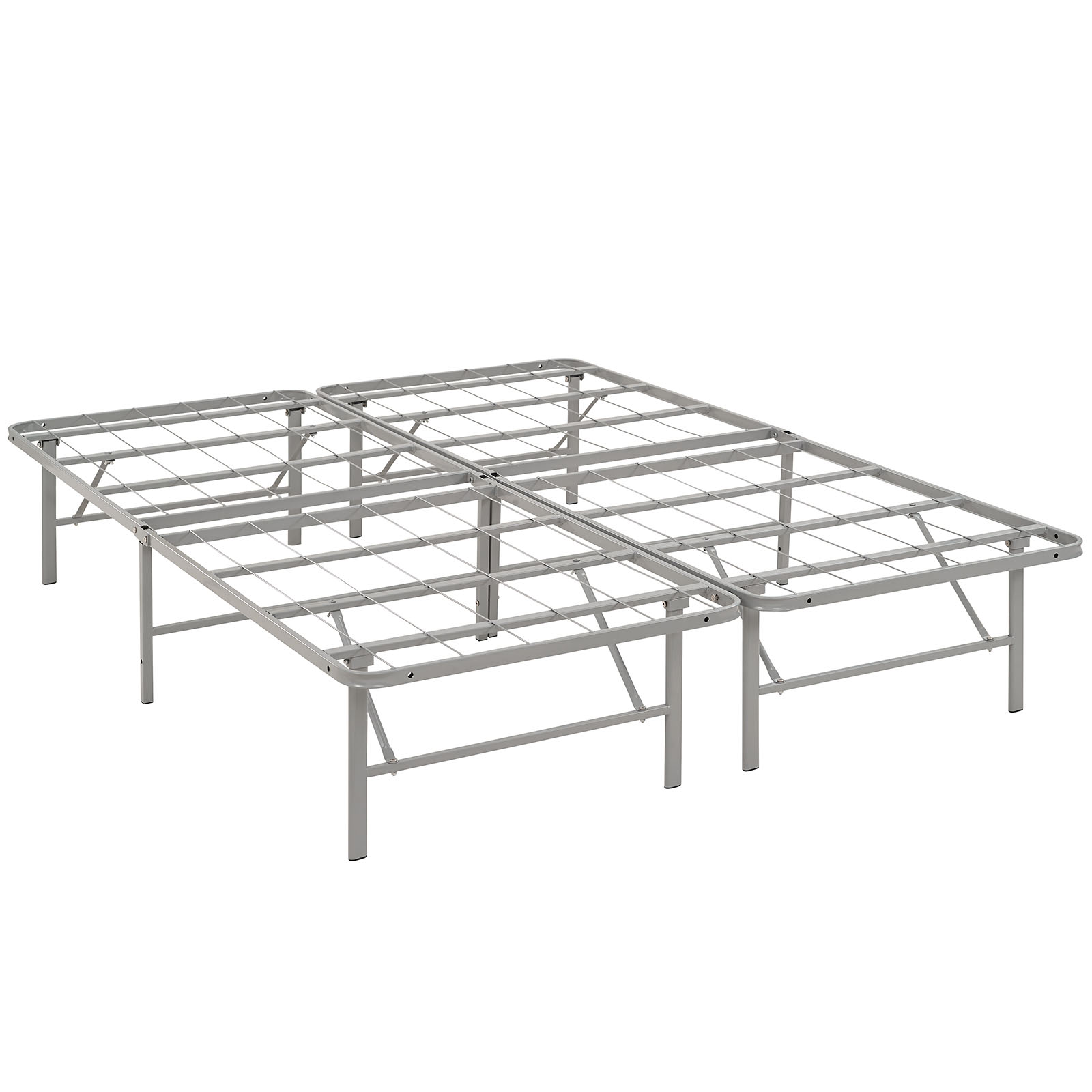 Modern Contemporary Urban Design Bedroom Full Size Platform Bed Frame, Grey Gray, Metal Steel
