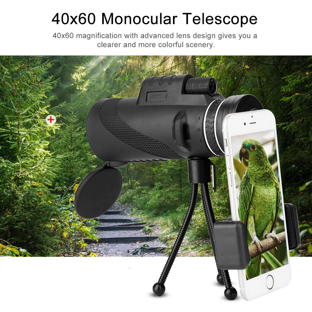 Hilitand 40x60 Monocular Telescope 8x Zooming Manual Focusing Night Vision Phone Monocular Telescope, Phone Monocular Telescope, 40x60 HD Monocular