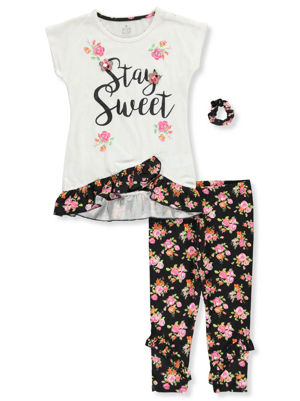 Star Ride Girls' 2-Piece Leggings Set Outfit with Scrunchie