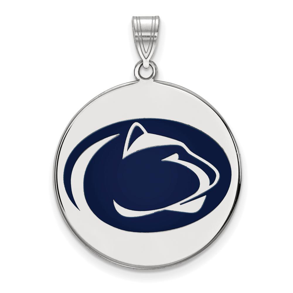 Penn State Extra Large (1 Inch) Enamel Disc Pendant (Sterling Sliver)