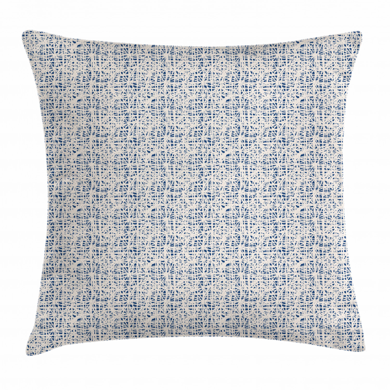 Tie Dye Throw Pillow Cushion Cover Watercolor Style Hand Drawn Grid Pattern Hippie Asian Folk Batik Design Decorative Square Accent Pillow Case 16 X 16 Inches Navy Blue And Beige By Ambesonne