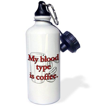 - 3dRose My blood type is coffee. Red., Sports Water Bottle, 21oz