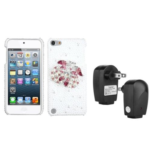 Insten Delicious Cherry Pearl 3D Back Case For iPod Touch 6 6G 5 5G + USB Travel Charger