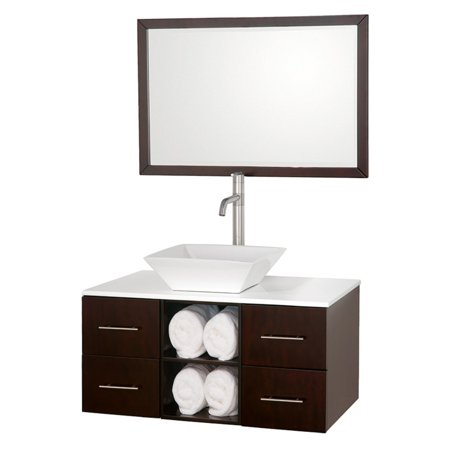 Porcelain Counter (Wyndham Collection Abba 36 inch Single Bathroom Vanity in Espresso, White Man-Made Stone Countertop, Pyra White Porcelain Sink, and 36 inch)