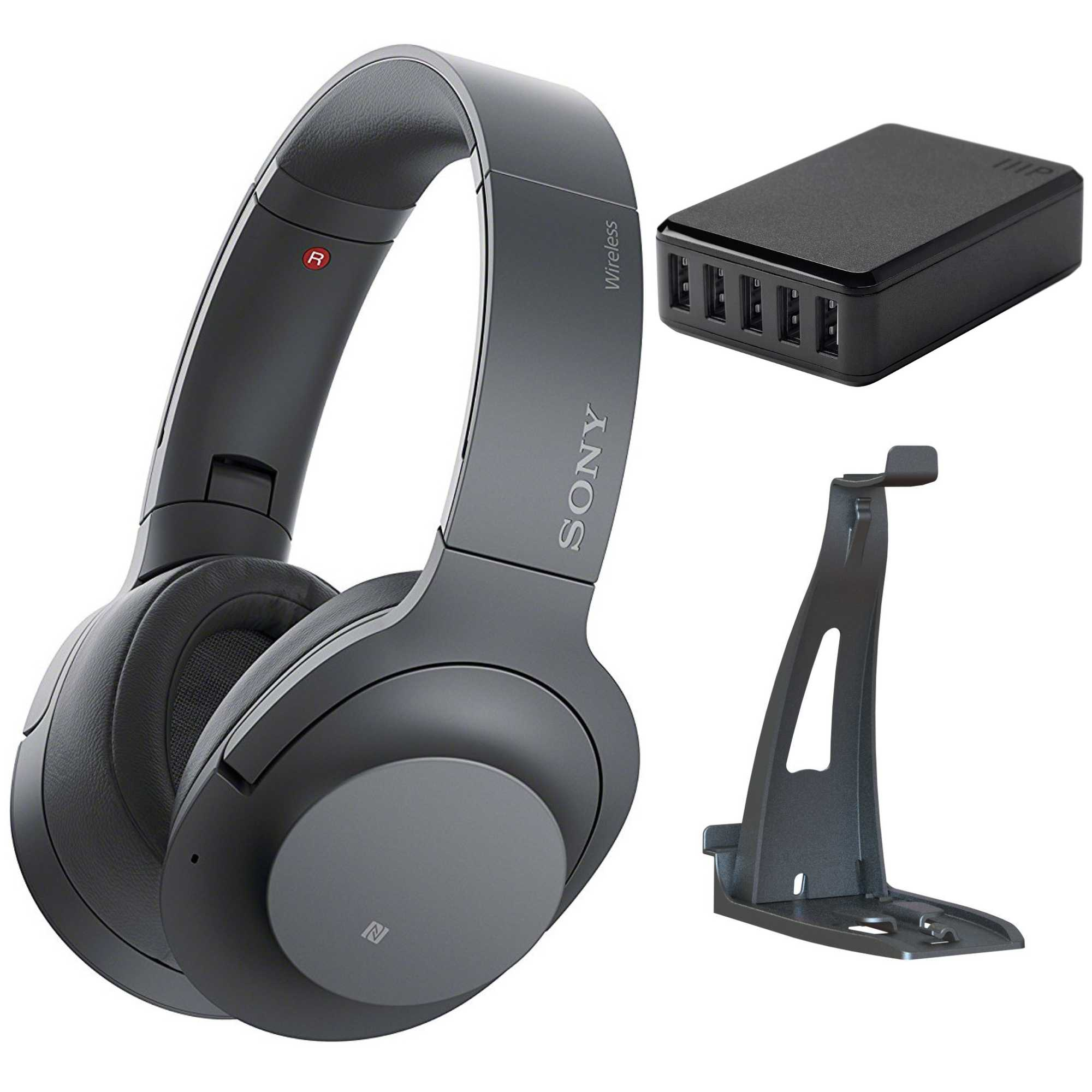 Sony - H900N Hi-Res Noise Cancelling Black  w/ Headset Stand & USB Charger