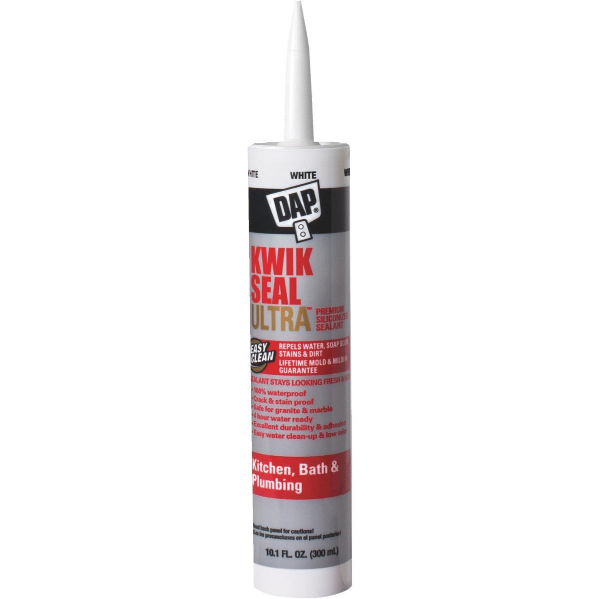 DAP Kwik Seal Ultra Premium Kitchen and Bath Sealant, 10.1 oz White