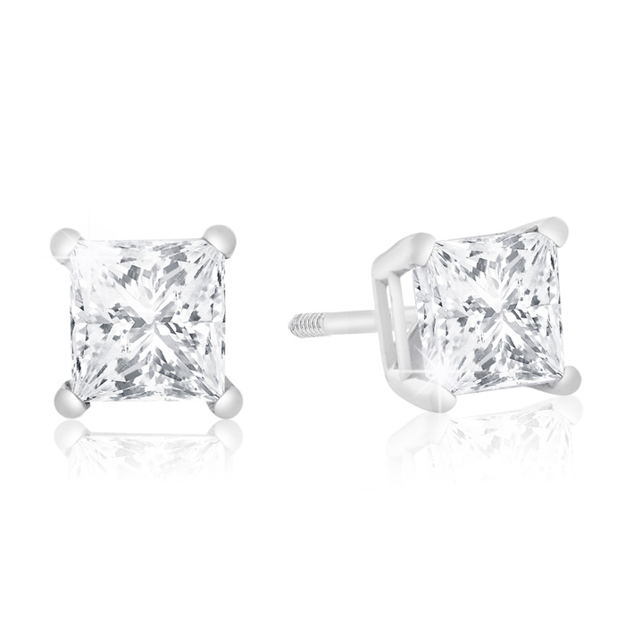 1ct Diamond Stud Earrings in 14k WG, H/I Color SI2/SI3 Cl...