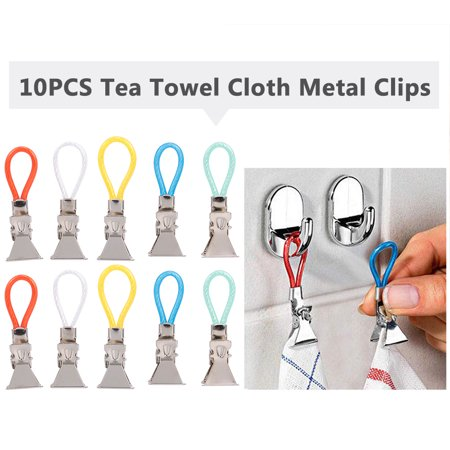 10PCS Tea Towel Clips Cloth Hanging Metal Clips Hand Towel for Kitchen Bathroom Afternoon Tea Oven Mitt Kids Pet