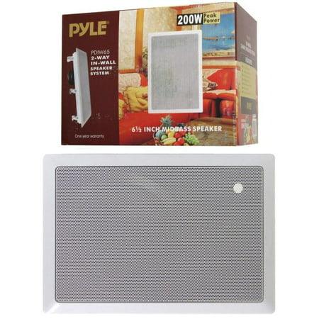 """6.5"""" Mid-Bass 2-Way In-Wall Speaker System - 2 Pieces - White - 200W Peak Power - image 1 of 1"""
