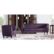 Diamond Sofa Bellini Fabric 2 Piece Sofa Set in Purple