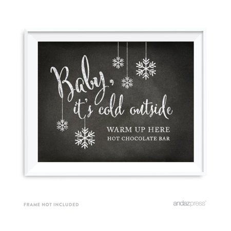 Baby It's Cold Outside - Hot Chocolate Vintage Chalkboard Wedding Party Signs - It's Halloween Sign