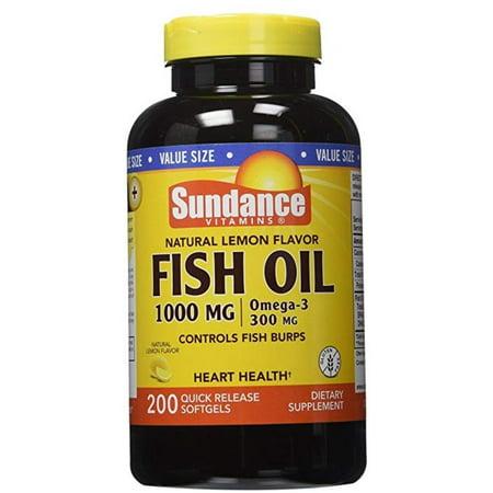 2 Pack - Sundance Vitamins  Fish Oil 1000 mg /Omega-3 300 mg, Natural Lemon Flavor, 200 ea