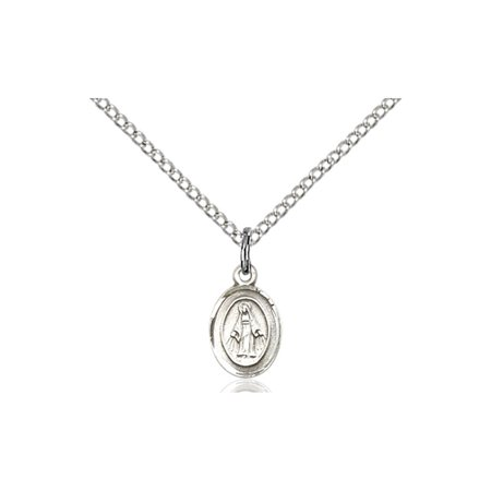 Solid 925 Sterling Silver Miraculous Immaculate Conception Virgin Saint Mary 3 8 X 1 4  Medal Pendant On A 18 Sterling Silver Curb Chain Necklace Gift Boxed