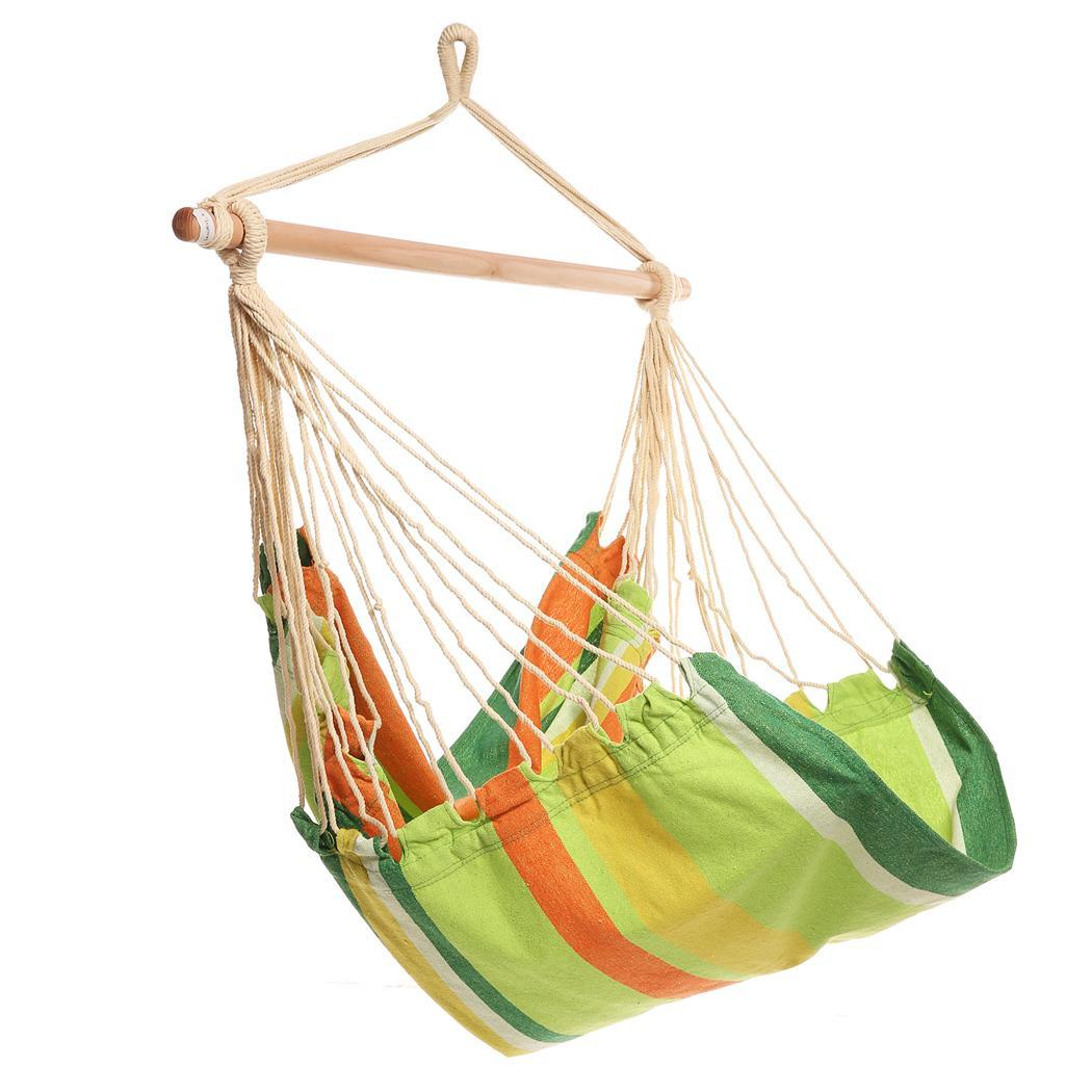 SPHP Extra Long Confortable Durable Striped Hanging Chair Hammock with Wooden Stretcher - load up to 120 kg Multicolor for Yard Bedr Sor.bus Brazilian Double Hammock