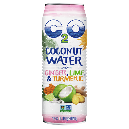 C2O Pure Coconut Water with Ginger, Lime and Turmeric, 17.5 Fl Oz, 12