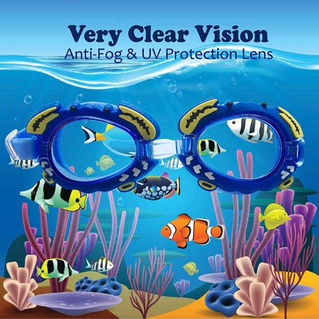 Anyprize Swimming Goggles Set for Kids, No Leaking Anti Fog Swim Glasses for Children, Blue Waterproof UV Protection Swimming Goggels with Swimming Cap + Swimming Bag + Nose Clip + Carplugs - Cap And Goggles