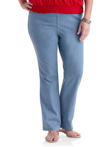 Just My Size Women/'s Plus 4-Pocket Stretch Boot Cut Pull-On Denim Jeans