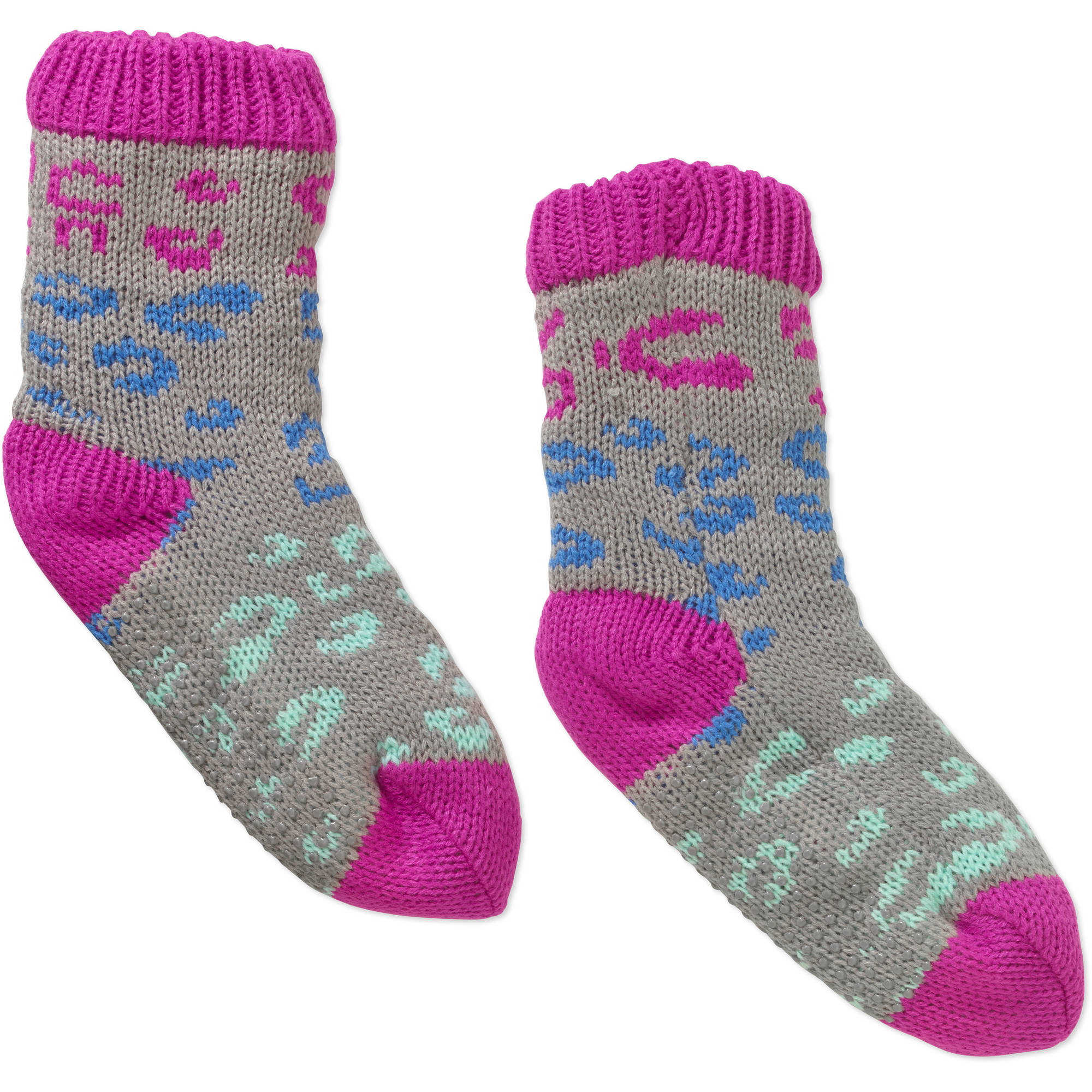 Ladies Leopard Gradient Chunky Slipper Sock with Faux Fur Lining