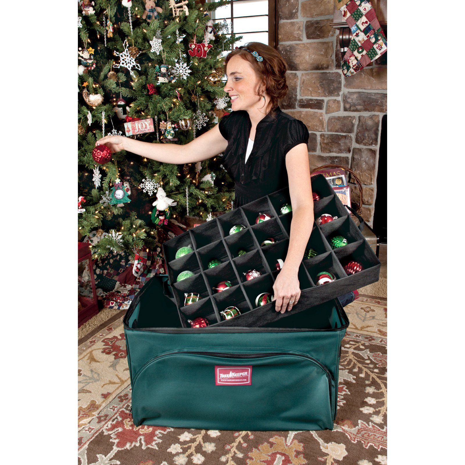 TreeKeeper 2 Tray Ornament Keeper Storage Bag with Front Pocket