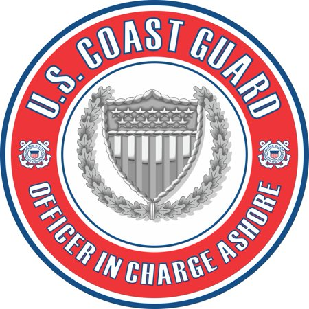 3.8 Inch U.S. Coast Guard Officer in Charge Ashore Badge Decal Coast Guard Officer Rank