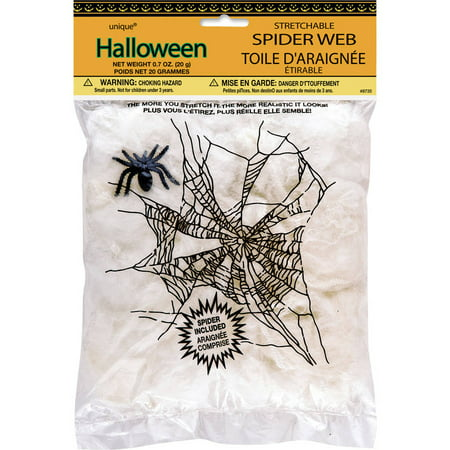 Stretchable Spider Web and Spider Halloween Decoration, 0.7oz