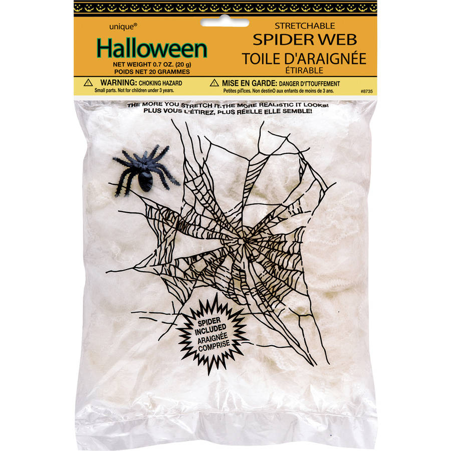 1Pack Halloween Spider Web Super Stretchable with 8 Spiders Lot Of 1Bag