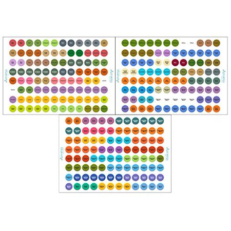 Essential Oils Labels (2 Packs) - Complete Set - Includes Multiple Bottle Cap Stickers for ALL Included Oils - Perfect Lid Stickers to Keep Your Oils Organized 97% Complete Stickers