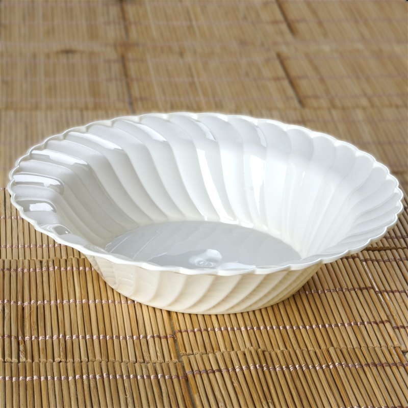 BalsaCircle 12 pcs Disposable Round Waved Plastic Bowls - 2 sizes - Party Tableware