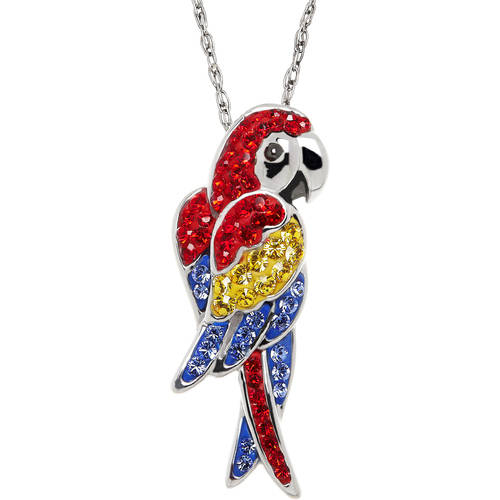 Animal Planet™ Macaw Pendant made with Swarovski Elements in Sterling Silver, 18""
