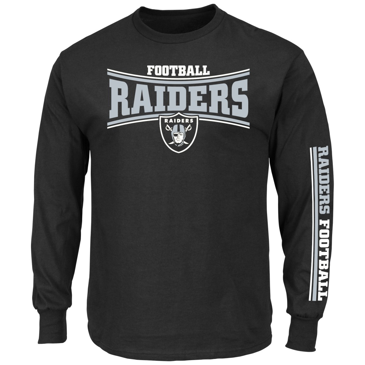 Oakland Raiders Majestic NFL Primary Receiver Long Sleeve Men's T-Shirt
