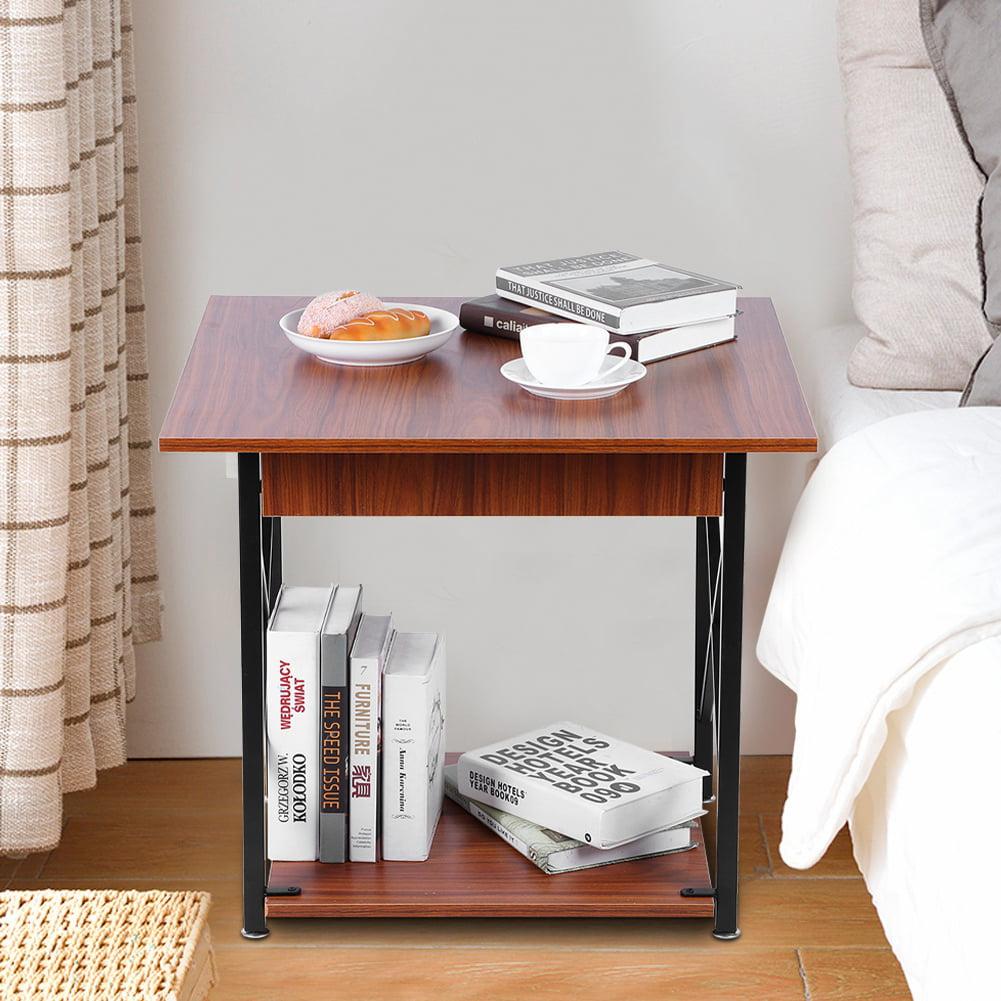 LYUMO Nightstand, Retro Wrought Iron Side Table Sofa ...