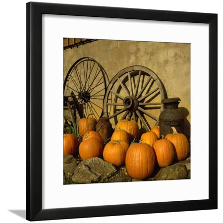 Pumpkins, Wagon Wheels and Milk Can, Todd, NC Framed Print Wall Art By Tom Dietrich