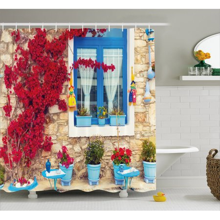 Coastal Decor Shower Curtain Italian Mediterranean House With Greek Windows Fabric Bathroom Set