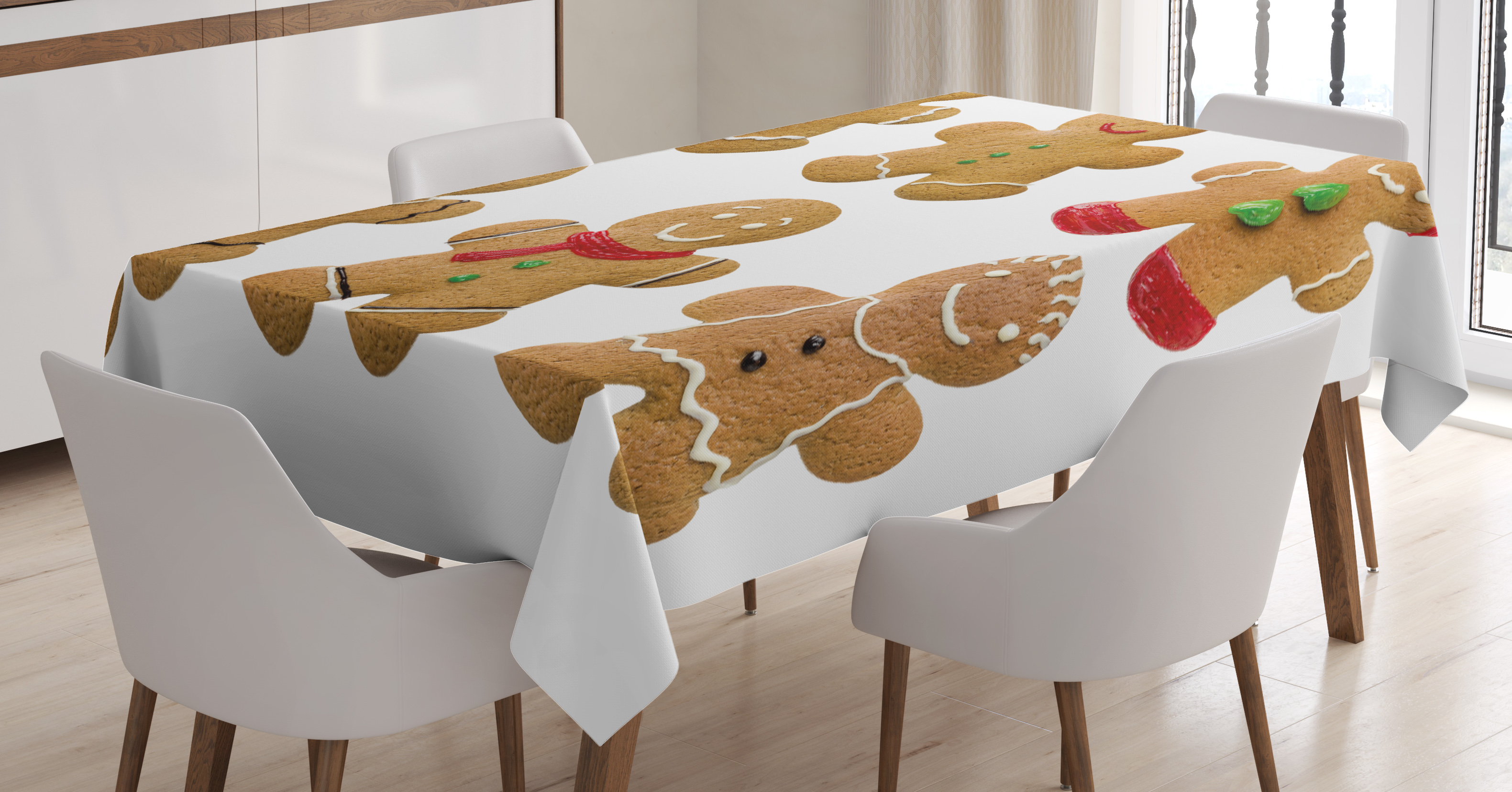 Gingerbread Man Tablecloth, Vivid Homemade Biscuits Sugary Xmas Treats  Sweet Tasty Pastry, Rectangular Table