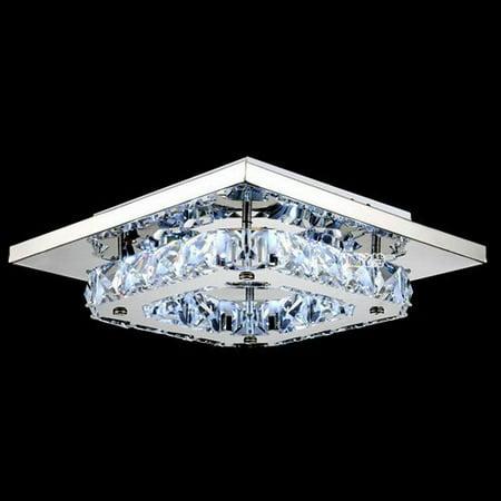 Lightinthebox 8w White LED Crystal Flush Mount 1 Light Modern Transparent Electroplating Stainless Steel Hallway Dining Room Bedroom